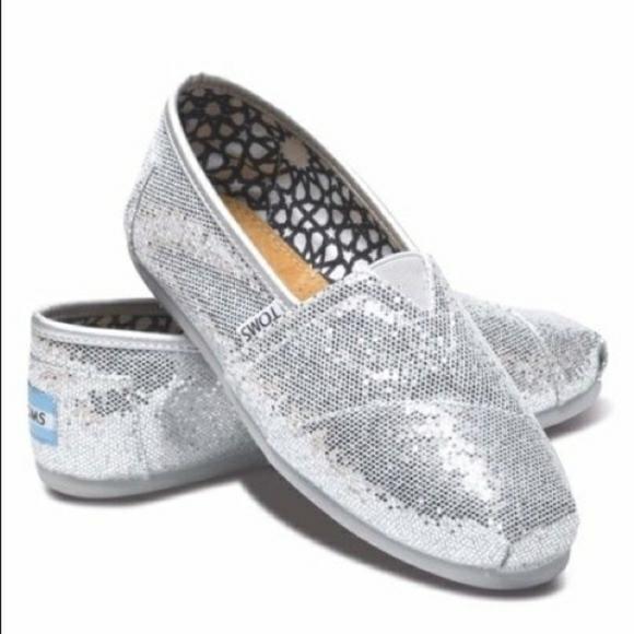 Toms Silver Glitter Shoes Size 85 Women